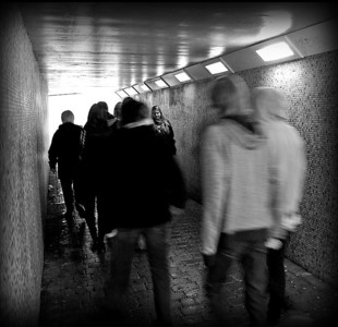Living Underground  There are few places more indicative of the downside of modern urban living than a pedestrian underpass!  A high contrast B&W conversion, a dark vignette, and some patient composition, add to the oppressive feel.