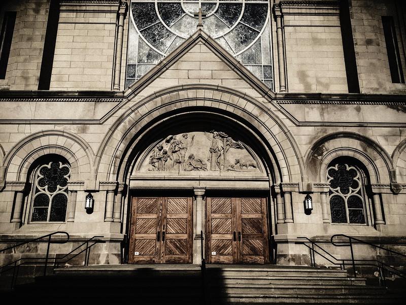 Saint Vincent DePaul church door.