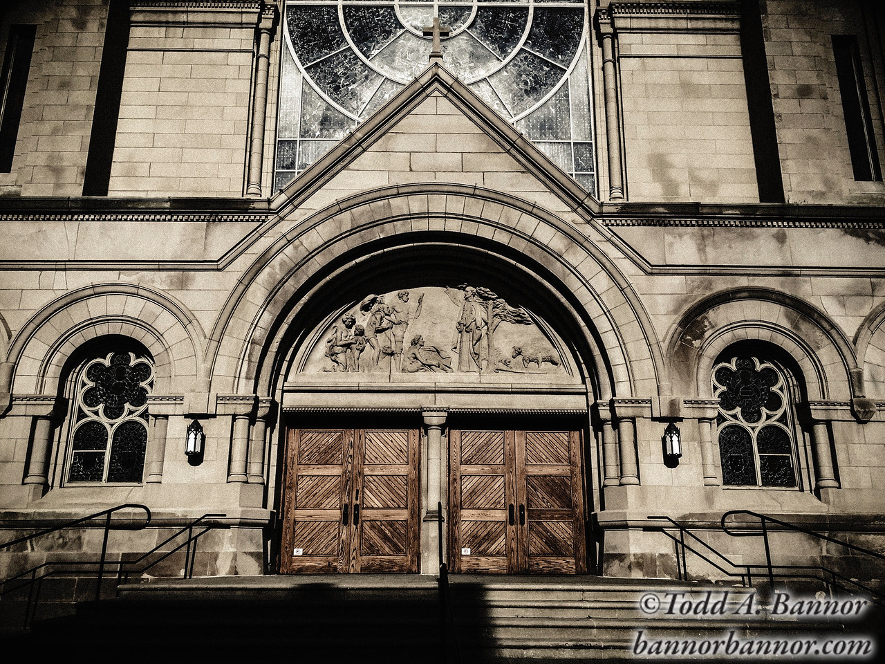 Saint Vincent DePaul church door.
