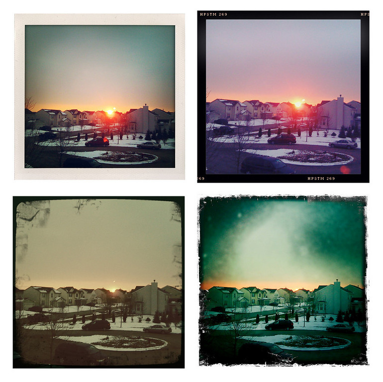 Today's sunset, 4 different ways, via my iPhone 3G, Hipstamatic, and ShakeItPhoto.  Composite done in Photoshop, no other editing.