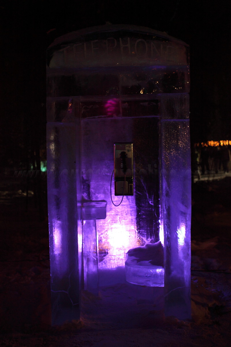 Phone Booth<br /> <br /> Ice sculpture captured on March 4, 2011 at the World Ice Art Championships 2011 in Fairbanks, Alaska<br /> <br /> Canon EOS 5D Mark II with Canon EF 50mm f/1.2L lens