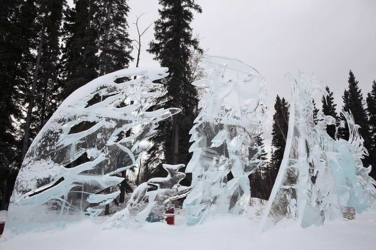 Ice sculptures captured on March 24, 2012 during the final days of the World Ice Art Championships 2012 in Fairbanks, Alaska