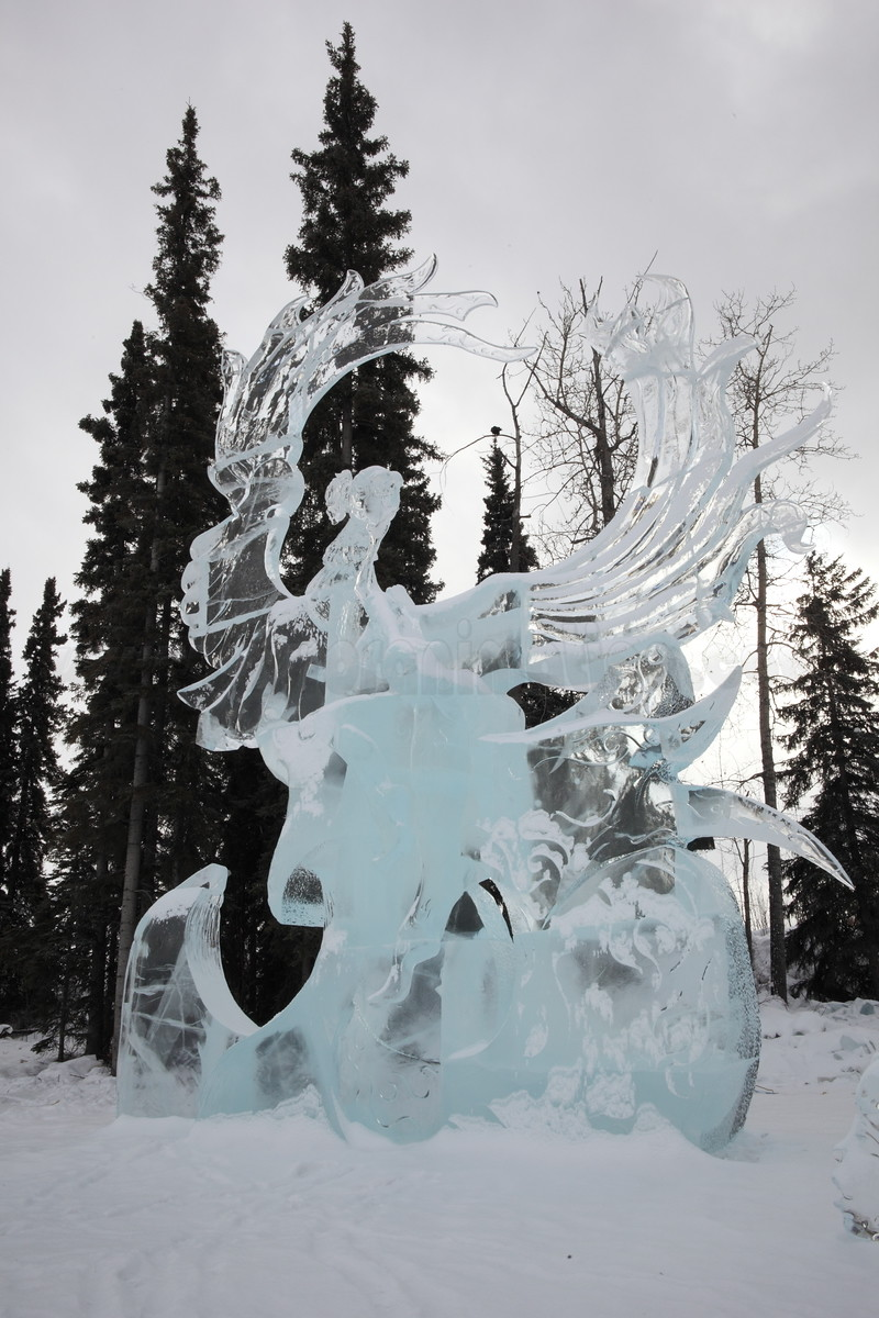 Ice sculpture captured on March 24, 2012 during the final days of the World Ice Art Championships 2012 in Fairbanks, Alaska