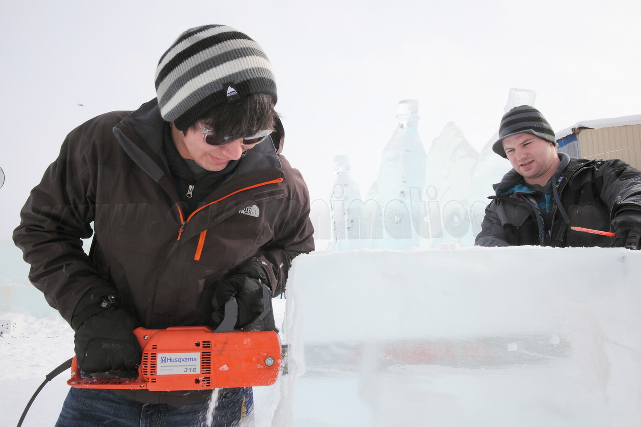 chain sawing at the the World Ice Art Championships in Fairbanks, Alaska on March 24, 2012