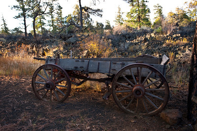 Nobody, North America, USA, New Mexico, Ice Cave and Bandera Volcano, Antique Pioneer Wagon