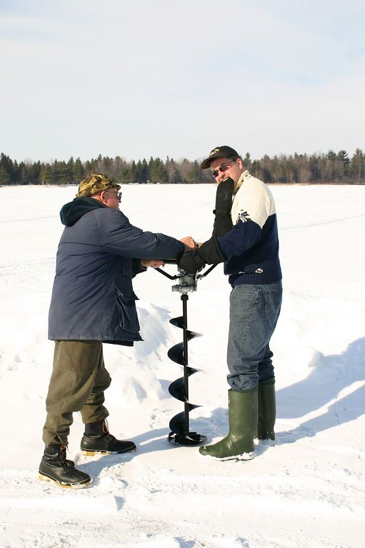 The all new gas auger.  The ice was 3 feet deep and the auger was only just big enough to cut through it.