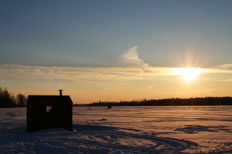 An ice fishing hut on the Rideau River