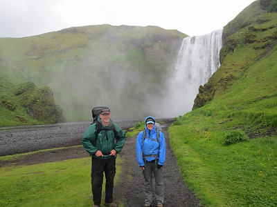 This was taken just before striking out on a one night backpacking trip. The waterfall is Skogafoss. The trail follows this river. We hiked 12.6 km up with an elevation change of 910 m. It was one waterfall after another. We eventually found the Baldvinsskali hut to stay in. Three Irish guys showed up also. The temperature was in the 40s with a strong wind and intermittent rain, it would've been a tough night in the tents.