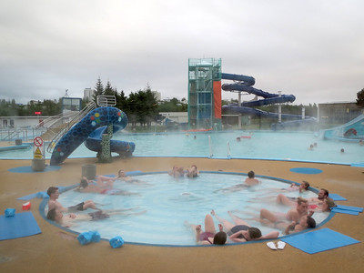 This is the largest swimming pool in Iceland. They have them all over the place, all geothermal. The campground is right next to this pool in Reykjavik.