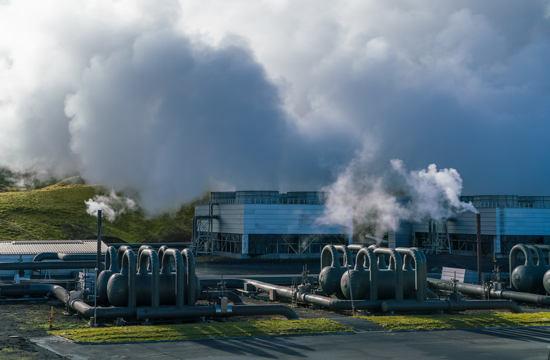 Steam extractors and cooling steam exhaust at The Geothermal Energy Exhibition at Hellisheiðarvirkjun, Iceland
