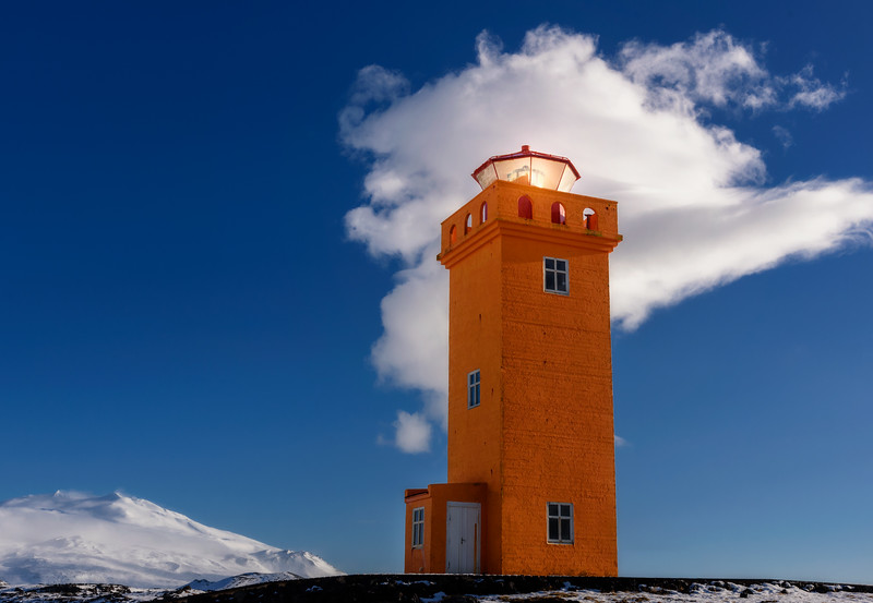 Orange lighthouse in Snaefellsnes