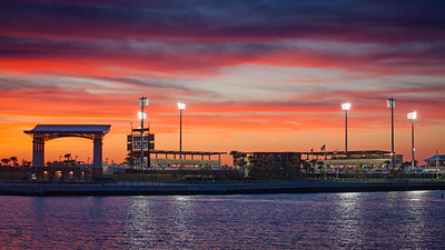 Pensacola Bayfront Stadium at Sunset. Home of the Blue Wahoos.