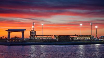 Pensacola Bayfront Stadium at Sunset. Home of the Blue Wahoos.
