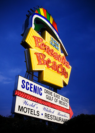 Pensacola Beach Sign at Night