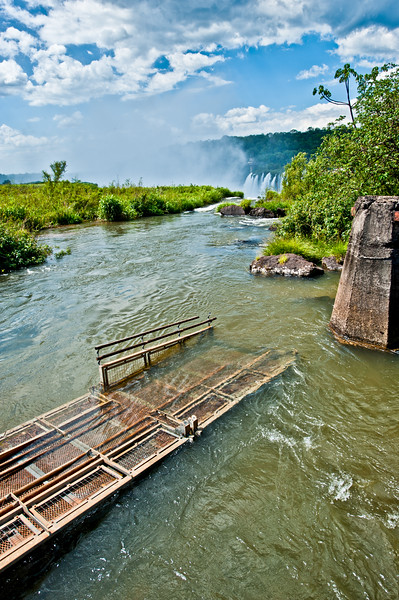 IGUAZU FALLS, Argentina 120.  This pedestrian walkway was washed out. Near the Devil's Throat.