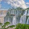 IGUAZU FALLS, Argentina 125.  Hot and humid jungle falls make for great vegetation. San Martin Island is to left.