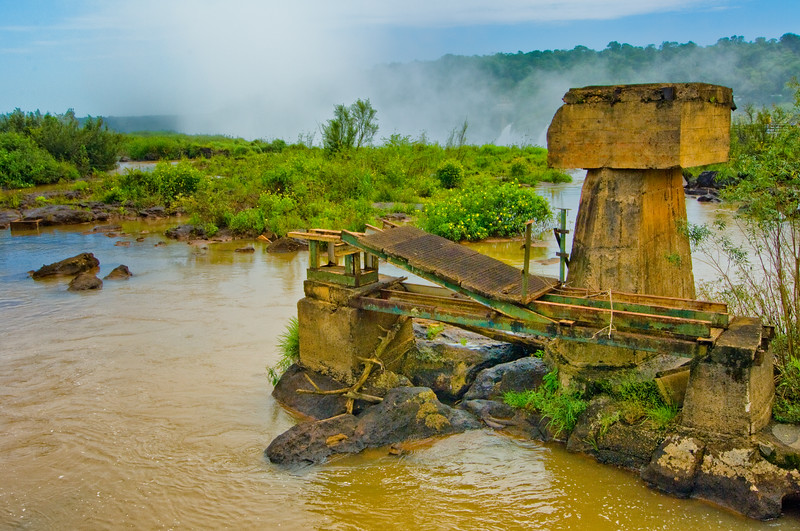 IGUAZU FALLS, Argentina 119.  This is what remains of a collapsed bridge after being flooded out by the river.