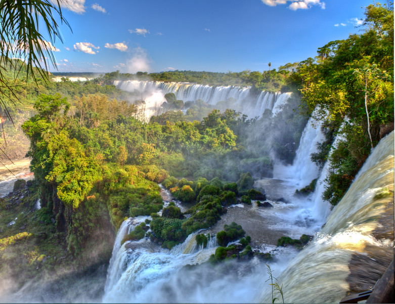 IGUAZU FALLS, Argentina 114.   This wider angle view shows a little of the expansive size and extent of the falls from the upper trail