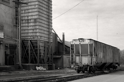 Rail car and mill. Ilford Delta 400 @ISO200, DR5.