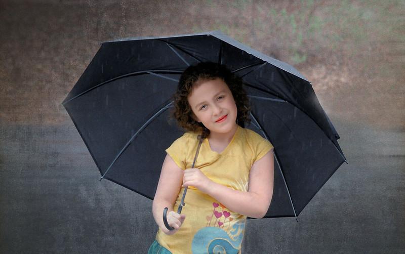 umbrella  and child