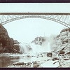 Bridge over a river, waterfall, mills, ca. 1890.  MP AP.
