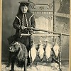 Young woman putting a shell into a shotgun, a hunting dog, ducks, ca. 1890.  Ptgr:  John Wikstrom, Isanti, MI.  MP AP