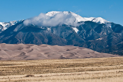 North America, USA, Great Sand Dunes, White Capped Sangre De Cristo Mountains