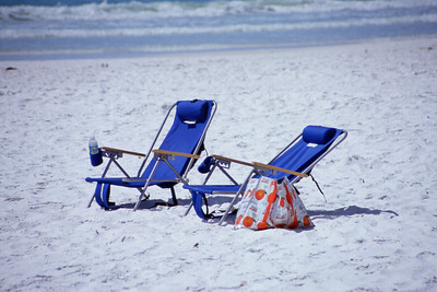 North America, USA, Florida, Sarasota, Siesta Key. Cresent Beach, Waiting Beach Chairs