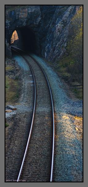 Railroad<br /> Cutting through the landscape near Bodo, North Norway