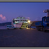 """The ferry """"Daskalogiannis"""" has spent the night at Karave. The crew are starting the day early - departure is at 07:30."""