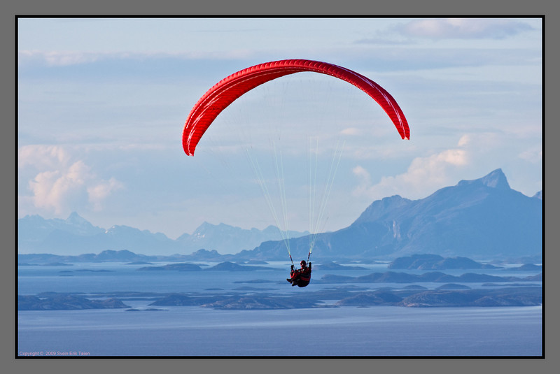 Sailing high II<br /> Paraglider over the fjord north of Bodø