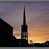 Sun from below<br /> Evening sky benind Bodø cathredal
