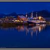 Still night at the old harbour - larger and smaller boats<br /> Røssnesvågen, Værøy