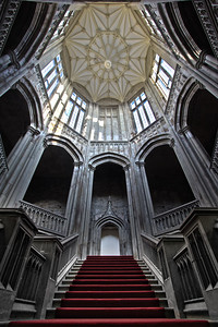 The stairway inside Margam Castle.