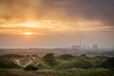 Sunset across kenfig dunes