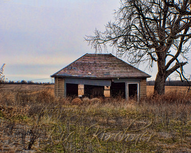 An old garage is the only sign of what once must have been a homestead outside of Jamestown, OH