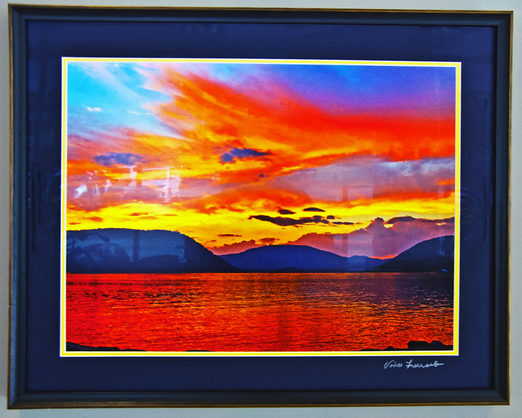 FRAMED PEEKSKILL'S FIREMEN'S 9/11/14 MEMORIAL SUNSET.