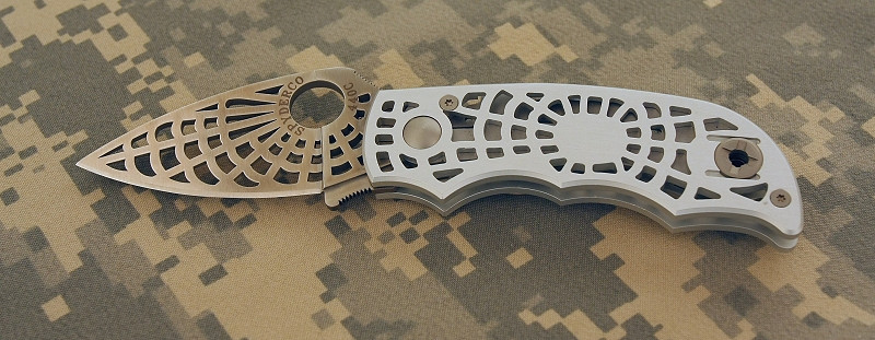 """Spyderco """"S"""" Model with silver anodized aluminum handles (spiderweb theme throughout)"""