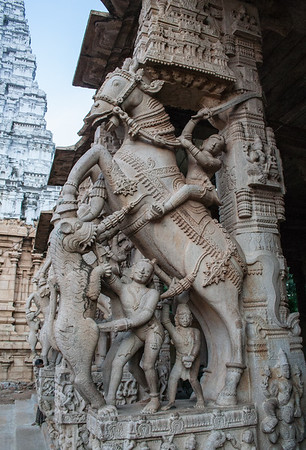 Warriors Fighting a Tiger