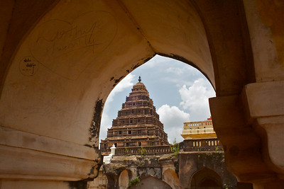 View of the gopuram from a window in the bell tower.