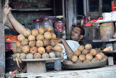 Having a rest between coconut  sales