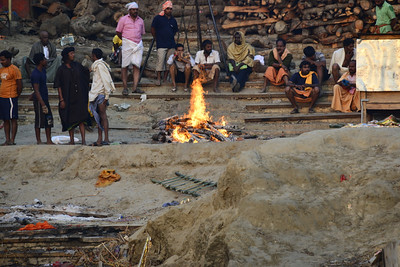 A cremation on the banks of the Ganges