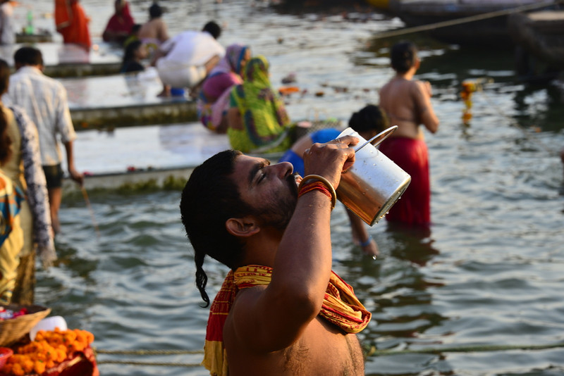 Drinking Ganges water - very brave!