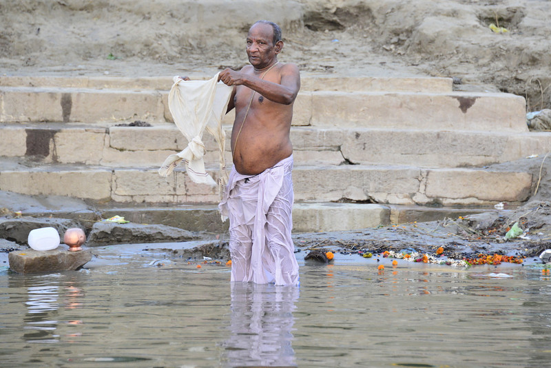 Early morning wash in the Ganges
