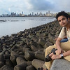Hanging out with some university students (and one crazy bearded man from Calcutta that had a bone to pick with Mumbai people) at Back Bay, Mumbai.