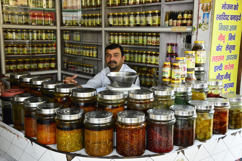 A pickle shop on MI Road in Jaipur