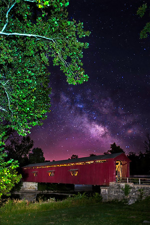Cataract Covered Bridge with Milky Way