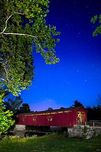Cataract Covered Bridge Starry Night