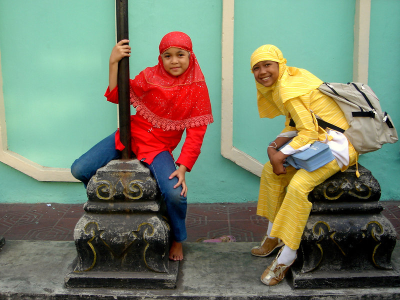 Muslim School girls on the street in Yogyakarta, Central Java, Indonesia