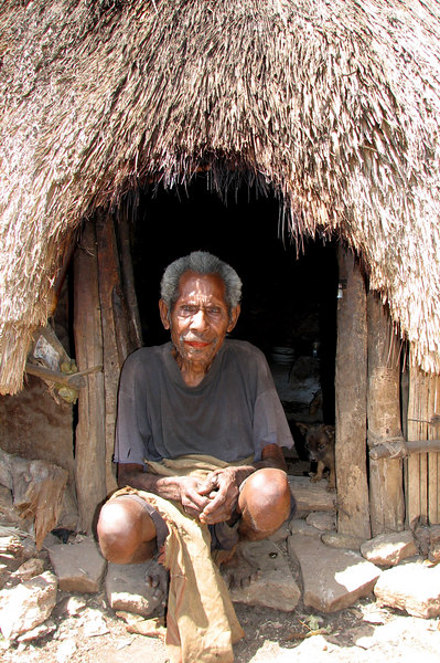West Timor peasent tobaco farmer in front of his home, XXX, West Timor, Indonesia
